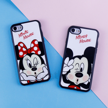 Soft Acrylic Mirror TPU Phone Cases for iPhone 6 7 8 6s Case SE 5s 5 6 7 6s 8 Plus Silicon Case for iPhone X Minnie Mickey Mouse(China)