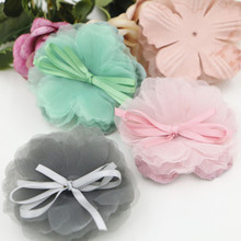 New Arrival 20PCS Lace Chiffon Flower Craft with Ribbon Knot Bow Decorated Fit for Girl Toddler Kids Hair Jewelry Headband DIY