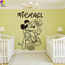 Custom Name  Mouse Baseball Rugby Tennis Wall Sticker Boy Name Kids Room Wall Decal Personalized Name Wall Art 3D Vinyl
