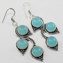 Chalcedony  Earrings  Silver Overlay over Copper , 61 mm, E1024