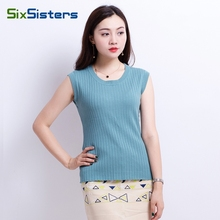 Women Sleeveless Pullover Sweater Femme Autumn Sexy Tank Tops Slim Knitted Undershirt Ladies Crocheted Knitwear Clothing HS1834(China)