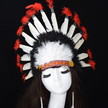 The Bride Indian Style Feather Headdress Masquerade Cosplay headband Dress Prom Dance Party Headwear Wedding Accessories