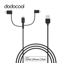 dodocool MFi Certified 3-in-1 TPE Micro-USB to USB Cable with Lightning type-c Adapter Charge Sync for iPhone 7 6s Plus Samsung(China)