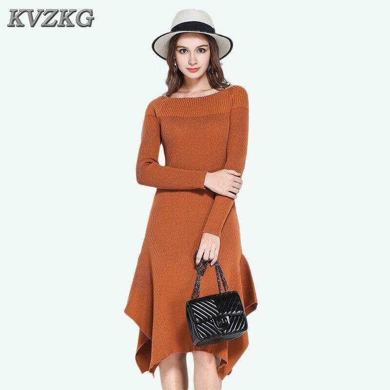 Knitted Winter Dress Women Office Black Camel One Word Collar Ribbed Midi Sweater Dress Stitching Irregular High VestidosÎäåæäà è àêñåññóàðû<br><br>