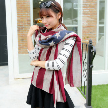 Spring and summer women scarf american flag and star print scarf female stripe 100% cotton scarf new style for women