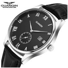 Mens Watches Top Brand Luxury Original GUANQIN Watch Reloj Waterproof Sapphire Leather Calendar Watches Clock Relogio Masculino(China)