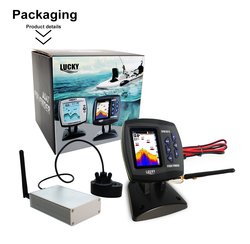 Fish Finder Lucky FF918-CWLS 3.5 LCD Boat Fish Finder wireless Underwater Detector Camera For fishing operating range 300m Depth Range 100M (8)
