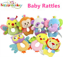 Hot 13cm Baby Rattles Mobile Owl Panda Lion Round Plush Toy Hand Ring bell Infant Baby Stroller Toy 0+ month Sound bed Soft Play(China)