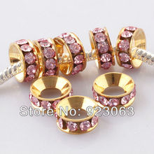 Wholesale 100pcs Pink Rhinestone Crystal Gold Color Metal Spacer Large Hole Charms Beads For European Bracelet C10324