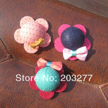 Newest design 50pcs/lot felt flower felt  hair accessory can mixed color order