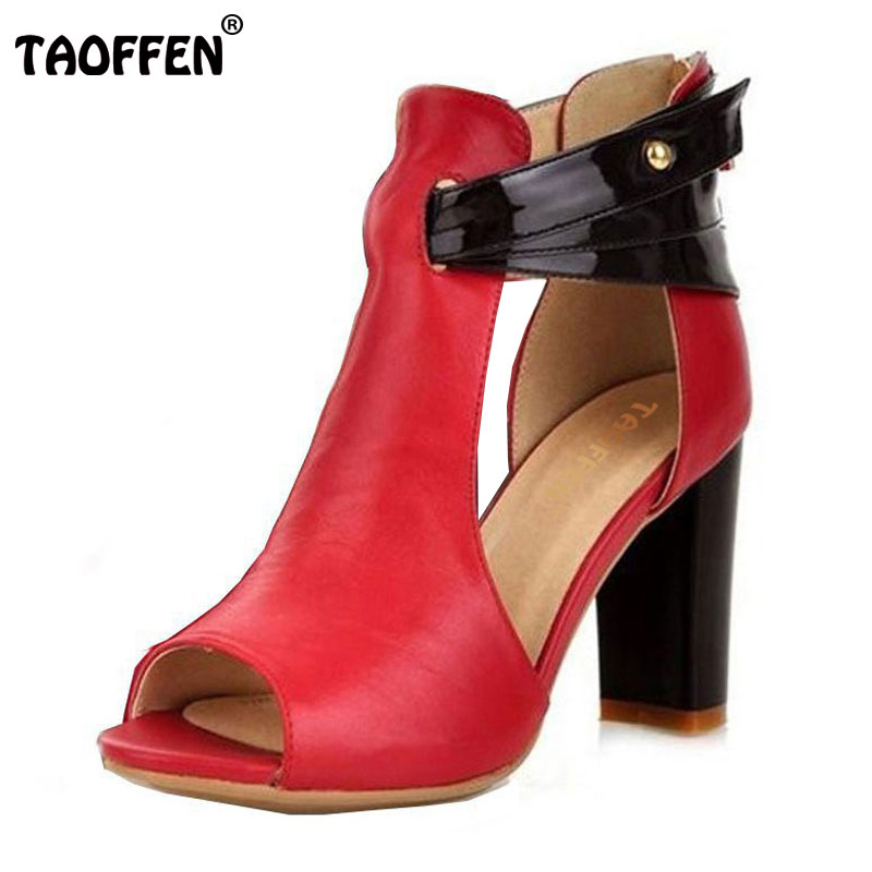 TAOFFEN size 32-43 women high heel sandals peep toe real leather square heels sandal brand zip heels shoes t strap shoes womens<br>