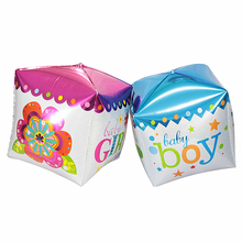 1pcs Baby Shower decoration Cube Baby Boy Girl Brand 6 Side Foil Balloon Kids Birthday Party Supplies foil ballon baloes Gifts
