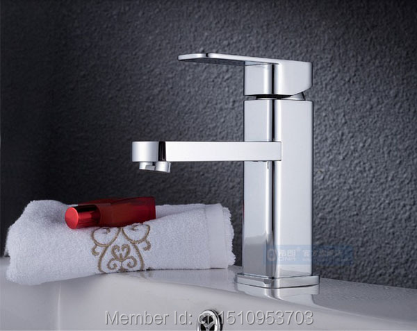 New Arrival US Free Shipping Wholesale And Retail Modern Square PVD Finish Single Lever Bathroom Sink Basin Faucet Mixer Tap<br>