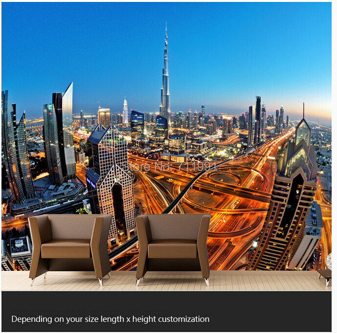 Free shipping custom modern 3D large murals TV setting wall of the sitting room bedroom wallpaper skyscrapers in Dubai<br>