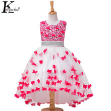 High Quality Vestidos Children Clothing New Girls Red Wedding Dress Summer Party Dresses For Kids Costume Flower Chiffon Clothes