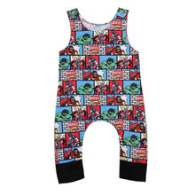 Cute Newborn Baby Rompers Summer Infant Boys Sleeveless Romper Cartoon Printed Jumper Cotton Blend Jumpsuit Kids Baby Outfits