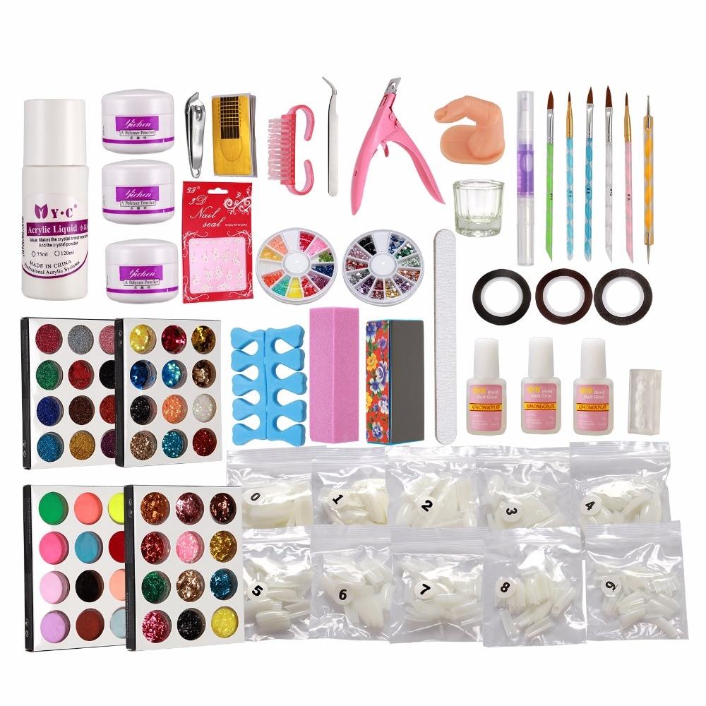 Russia Seller Acrylic Liquid False Nail Art Brush Glue Powder Buffer Block Deco Tips Tool Kit Ship From China 28 Set<br>