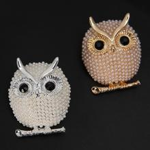 Women's Cheap Jewels Simulated Pearl Owl Brooch Pins Classic Animal Scarf Brooch Affordable Gifts Hot Sale Retail Wholesale