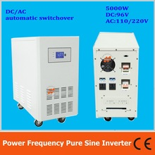 Power frequency 5000W pure sine wave solar inverter with charger DC96V to AC110V220V LCD AC by Pass AVR