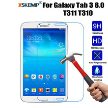 """XSKEMP 9H Tablet Tempered Glass Samsung Galaxy Tab 3 8.0"""" SM-T310 T311 T315 Shockproof Anti-Shatter HD Screen Protector Film"""