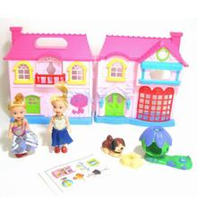 Plastic Building Model Dollhouse Set 2 Pretty Girls Doghouse Accessories Pretend Play Toy