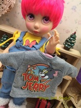 "[DY021]2016 Free Shipping 16"" fashion doll Clothes # Tom and Jerry Printed Top for 16 inch fashion girl doll outfits for retail"