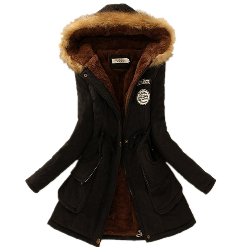 2017 Winter Womens Parka Casual Outwear Military Hooded Coat Winter Jacket Women Fur Coats Womens Winter Jackets And CoatsОдежда и ак�е��уары<br><br><br>Aliexpress