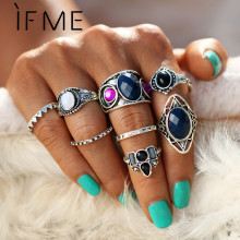 IF ME 8pcs/set Bohemian Antique Silver Color Midi Finger Ring Sets Vintage Ethnic Natural Stone Women Knuckle Rings Jewelry