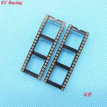12pcs Round Hole 40Pin 2.54MM DIP IC Socket Adaptor Solder Type IC Connector (If you need other quantity, please contact us )(China)