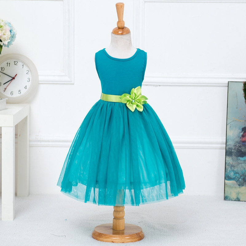 Summer Tulle Girl Dress Sleeveless Mid-Calf Princess Party Dresses Sweet Wedding clothes<br><br>Aliexpress
