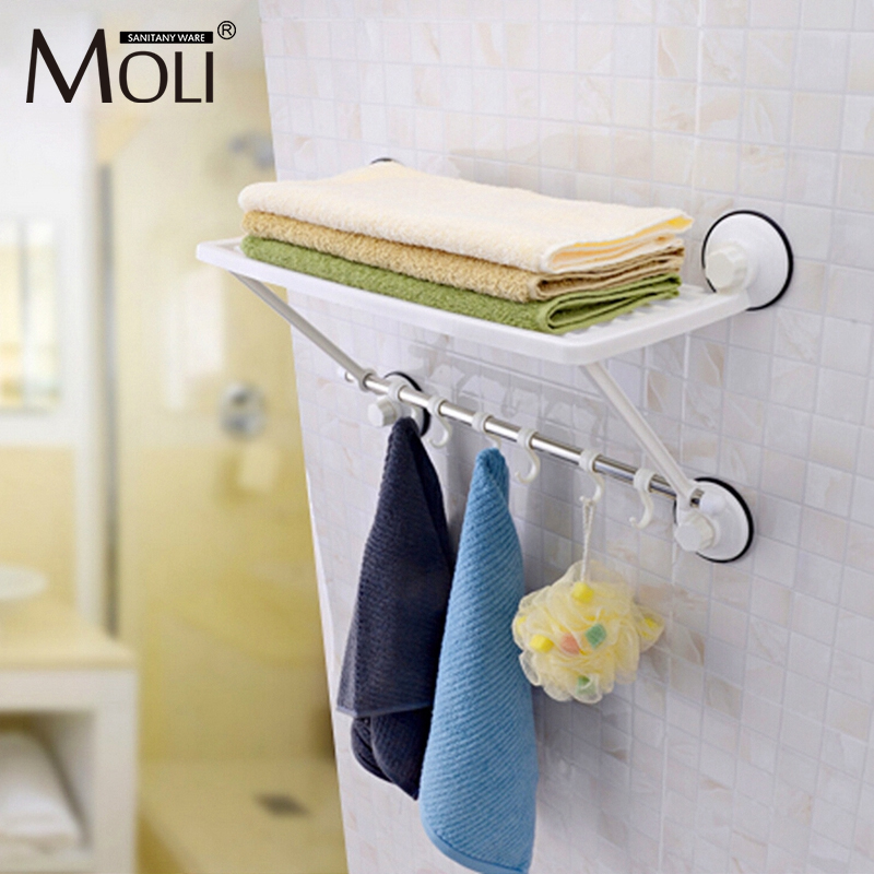 Free shipping single layer towel racks with hooks plastic towel holder wall powerful suction cup bathroom towel shelf<br>