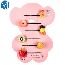 M MISM Girls Lovely Colorful Fruits Strawberry Orange Hairpins Children Cartoon Cute Crown Patterns Hair Clips Hair Accessories(China)