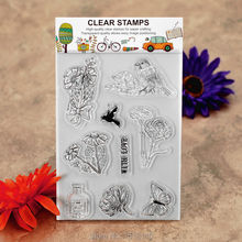 WITH LOVE Flower Bird Butterfly Scrapbook DIY photo cards account rubber stamp clear stamp transparent stamp 11x16cm KW610311