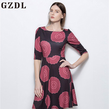 GZDL Casual Women Geometric Print Half Sleeve Dress Summer Women's O Neck High Waist Fashion Multi Milk Silk Mini Dresses CL3862