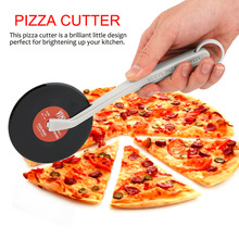 Professional Top Spin Fresh Slice Record Player Pizza Cutter Vinyl Record Design Pizza Wheel Cutter Kitchen Accessories(China)