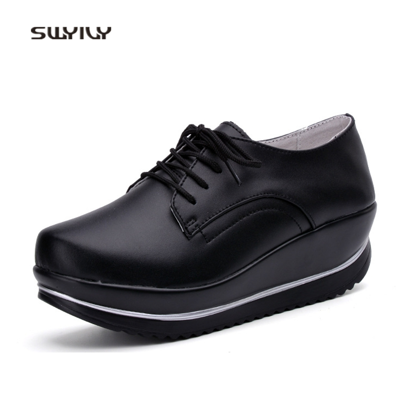 SWYIVY Women Toning Shoes Genuine Leather Large Size44 Swing Shoes 2018 New Solid Color Thick-sole Female Slimming Shoes