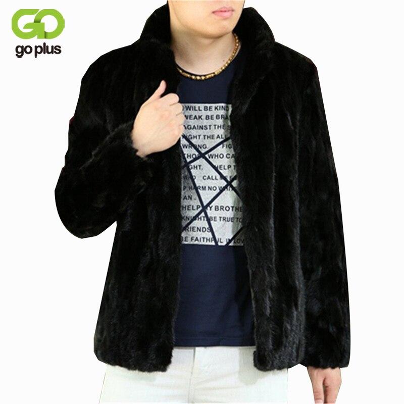 GOPLUS 2017 New Fashion Male Marten Velvet Mink Overcoat Outerwear Men Black Faux Fur Overcoat Fur Coat Winter Thick Down Jacket