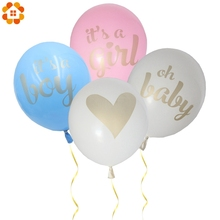 12PCS/Lot 12inch its a girl/ boy /oh baby Printed Balloon With Gold Glitter Shiny For Home Birthday Party Baby Shower Decoration(China)