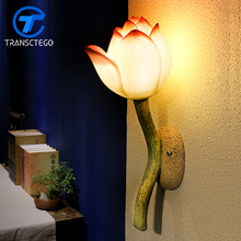 New Chinese Style Wall Lamp Decoration Lotus Flower Light restaurant stairways decorated living room bedroom bedside wall lamps(China)