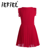 iEFiEL Summer Kids Girls Ruffled Sleeves Chiffon Flower Dress Princess Pageant Wedding Bridesmaid Birthday Party Pleated Dress(China)