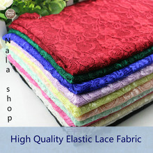10colors High Quality Butterfly Flower Elastic Lace Fabric DIY  Basic Cloth Width 150cm 1meter