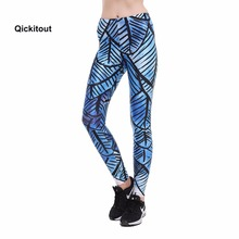 Qickitout Women Leggings Blue background Black Line Striped Printed Casual Style Long Pants High Waist Fashion Spring Pants(China)