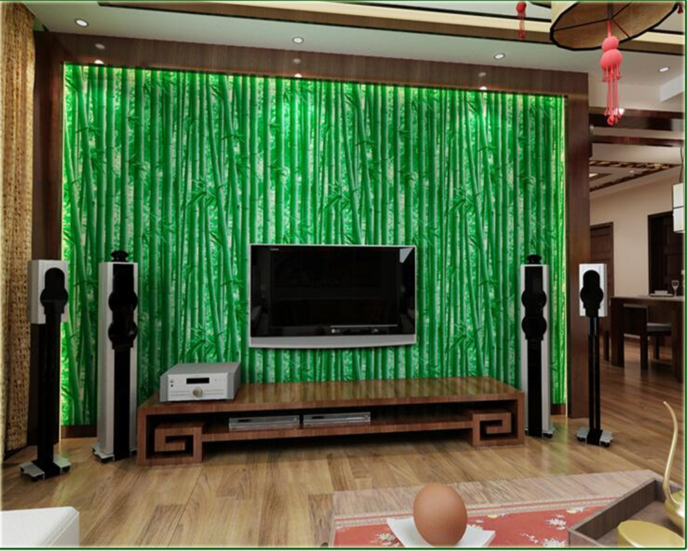 beibehang 3D natural simulation bamboo wall paper Chinese screen TV backdrop wall thick pvc 3d wallpaper decoration papier peint<br>