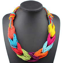 Handmade Woven Small Beads Strand Colorful Bohemian Necklace Women Fashion Choker Multi Layer Necklaces Vintage Jewelry(China)