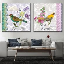 2 Pcs/Set Traditional Chinese Oil Painting on Canvas Birds Canvas Picture Canvas Art Cheap Modern Wall Paintings Home Decoration