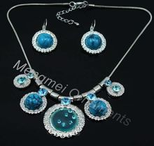Silver Plated Snake Chain Attached with Round Rhinestone Accessories Necklace and Matching Earring Turquoise Jewelry Set