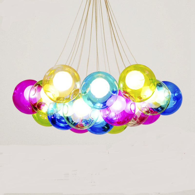 After the modern minimalist creative pendant light personality Art dining room color ball bar Mediterranean Glass<br>