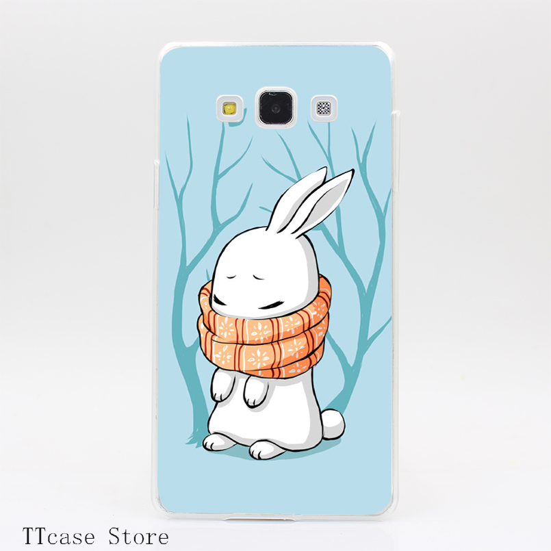 4080CA Winter Bunny Transparent Hard Cover Case for Galaxy A3 A5 A7 A8 Note 2 3 4 5 J5 J7 Grand 2 & Prime