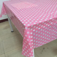 ipalmay Pink Polka Dot Plastic Retangular Tablecloth Disposable Table Cloth for Wedding Party Supply/Decoration