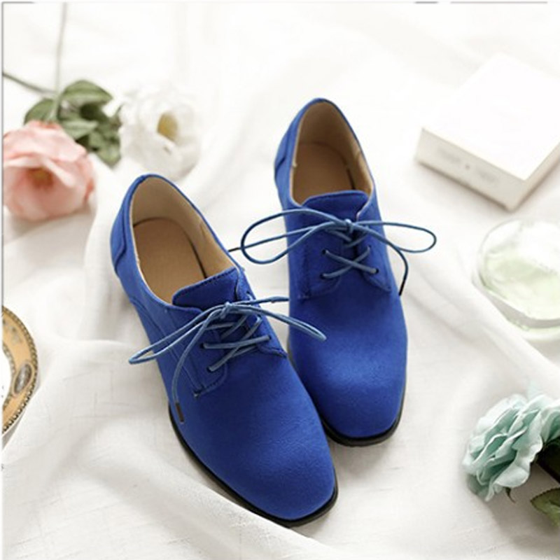 2017 British  Oxford Shoes Quality Breathable Work shoes Square Toe Lace-up Big Size  43 Block Heel<br><br>Aliexpress